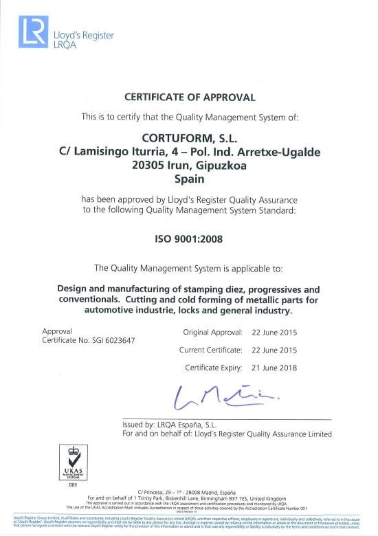 Certificado ISO 9001<br />Cortuform SL