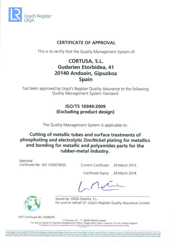 Certificado ISO TS<br />Cortusa Industrial SL