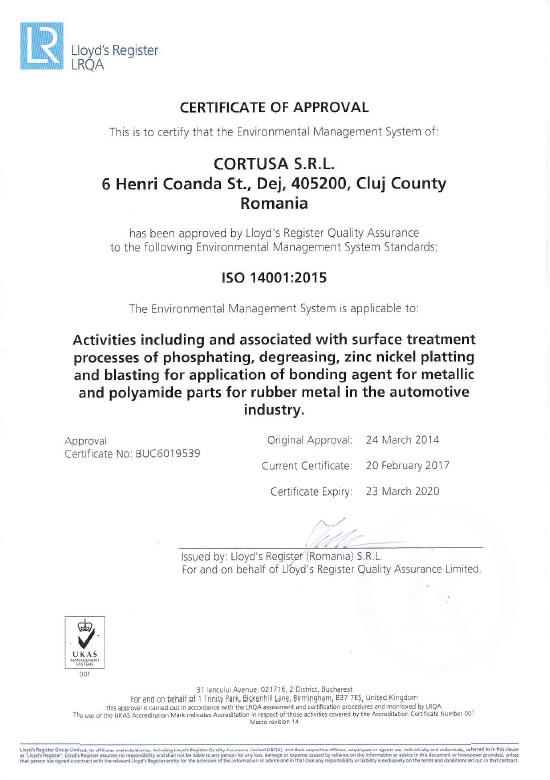 Certificado ISO 14001<br />Cortusa SRL