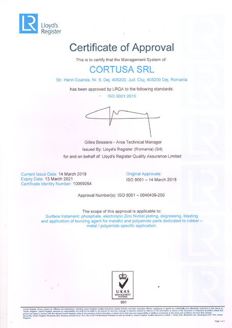 Certificado ISO 9001<br />Cortusa SRL