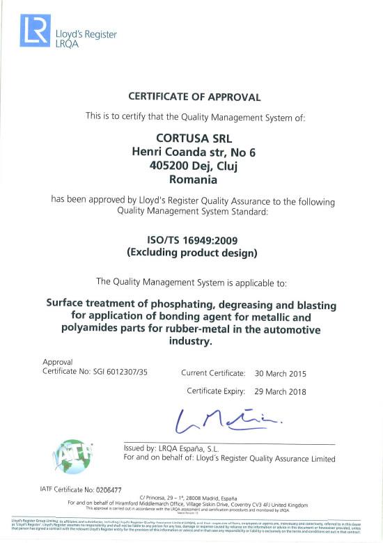 Certificado ISO TS<br />Cortusa SRL