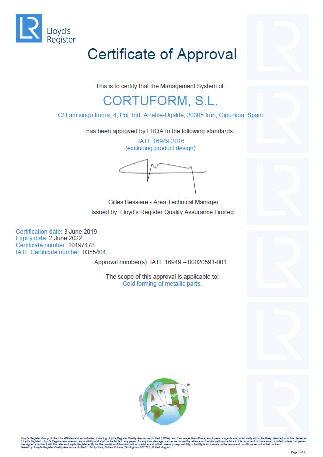 Certificado IATF 16494<br />Cortuform SL