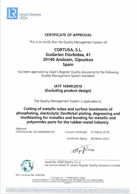 Certificado IATF<br />Cortusa Industrial SL