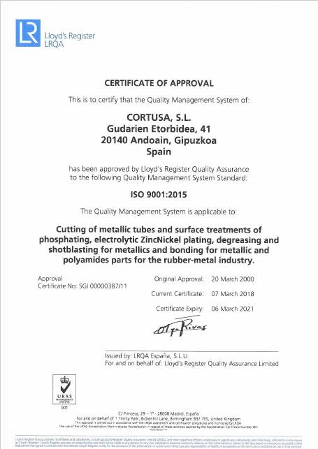 Certificado ISO 9001<br />Cortusa Industrial SL