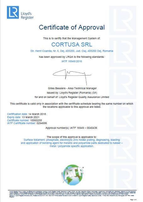 Certificado IATF<br />Cortusa SRL